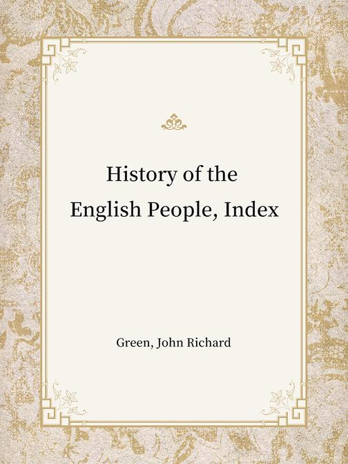 History of the English People, Index