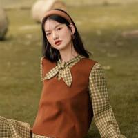 茵曼套装裙女2020年新款秋装复古格子连衣裙兔耳朵背心森系两件套